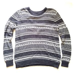 Women's Gray and White Striped Sweater